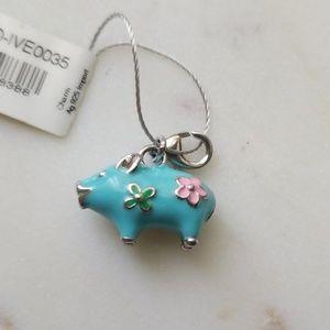 Pig charm sterling silver enameled
